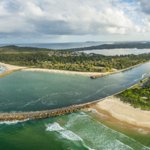 Aerial panorama of beautiful inlet and coastline. Camden Haven Inlet, NSW, Australia