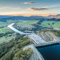 Huge pipes of Tumut hydroelectric power station at sunset
