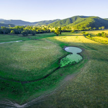 Aerial view of Australian pastures at sunset. Mitta Mitta valley, Victoria, Australia.