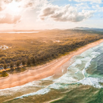 Aerial panoramic landscape of North Haven Beach in New South Wales, Australia