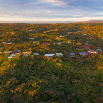 Aerial panoramic view of luxury homes in Rye suburb at sunset. Melbourne, Australia