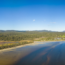 Aerial panorama of Coles Bay and The Hazards, Tasmania.