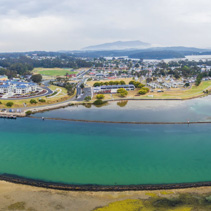 Aerial panorama of luxurious homes at Narooma, NSW, Australia