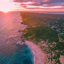 Aerial view of Rye suburb and ocean coastline at beautiful sunset. Melbourne, Australia