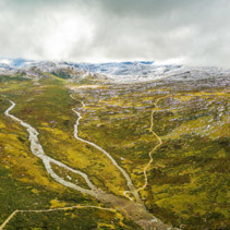 Aerial panorama of Snowy River and mountains in Australian Alps, Australia