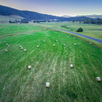 Aerial view of hay bales scattered on a green field at sunset
