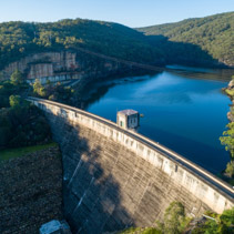 Aerial view of Nepean Dam wall at sunrise. Bargo, New South Wales, Australia