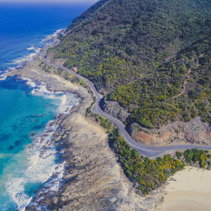 Aerial view of Great Ocean Road near Lorne, Australia