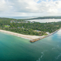 Wide aerial panorama of North Haven and Camden Haven inlet in New South Wales, Australia
