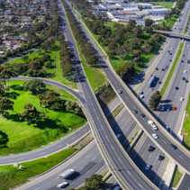 Monash freeway and Wellington road interchange in Mulgrave suburb - aerial panoramic landscape