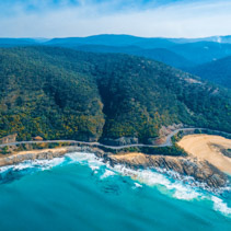 Aerial view of the world famous Great Ocean Road