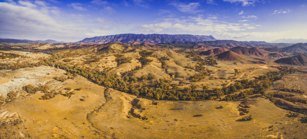 Scenic aerial panorama of Flinders Ranges mountains of South Australia
