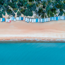 Beautiful bathing boxes at Mount Martha beach with copy space. Melbourne, Australia
