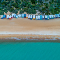 Iconic beach huts in Melbourne, Australia - aerial view