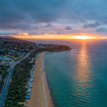 Mount Martha coastline at sunset - aerial panoramic landscape