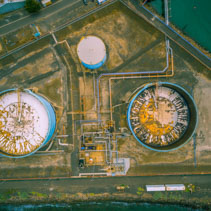 Aerial view of Gellibrand tank farm in Williamstown, victoria, Australia