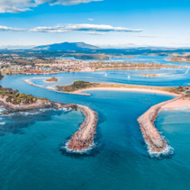 Aerial panorama of beautiful coastal town Narooma, NSW, Australia