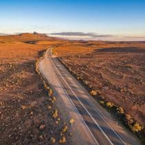 Beautiful sunset over rural highway passing through South Australian desert