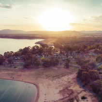 Aerial panorama of Lake Hume coastline at sunset. Lake Hume Village, New South Wales, Australia