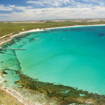 Aerial panorama of Vivonne Bay and pier in Summer. Kangaroo Island, South Australia