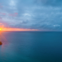 Sunset over water on Mornington Peninsula, Victoria, Australia