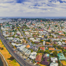 Aerial panorama of Williamstown coastal suburb in Melbourne, Australia