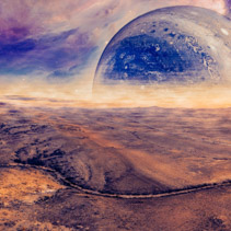 Alien fantasy panoramic landscape - unreal planet rising over desert. Elements of this image are furnished by NASA