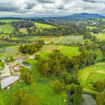 Australian countryside on overcast day - aerial view