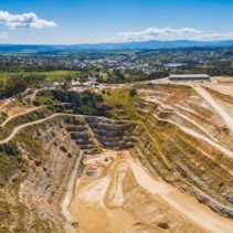 Aerial panorama of decommisioned limestone mine in Melbourne, Australia