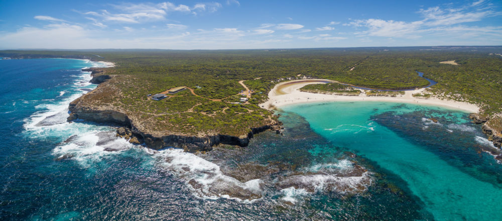 Aerial panorama of Hanson bay ans South West River. Kangaroo Island coastline, South Australia