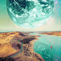 Unreal fantasy landscape of sailboat sailing across a river on alien planet. Elements of this image furnished by NASA