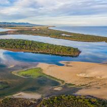 Aerial panoramic landscape of Horse Island and Ocean Coastline. Mallacoota, Victoria, Australia