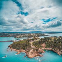 Aerial view of rugged ocean coastline near Eden, NSW, Australia