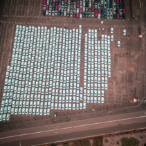 Aerial view of Melbourne International Roll on Roll off Automotive Terminal (MIRRAT) in Victoria, Australia
