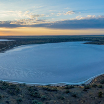 Aerial panoramic landscape of scenic salt lake Crosbie at sunrise