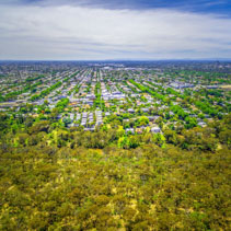 Aerial view of park and suburban area in Melbourne, Australia