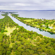 Aerial panoramic view of Mitchell River Silt Jetties, Gippsland, Australia