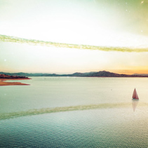 Scenic unreal sunset over beautiful lake and lonely sailboat on alien planet. Elements of this image furnished by NASA