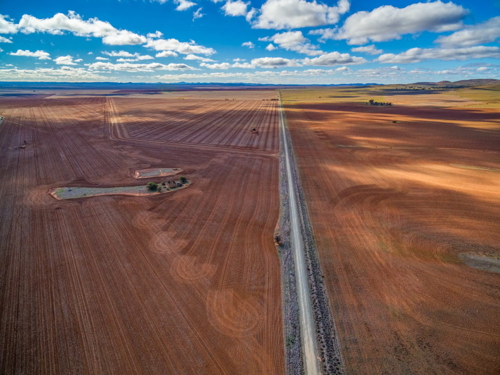 Straight road passing through agricultural fields on beautiful sunny day - aerial view