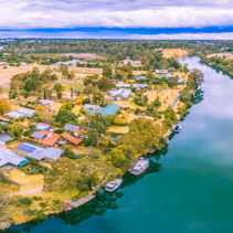 Aerial panorama of Mitchell River and Eagle Point Bay, Gippsland, Australia