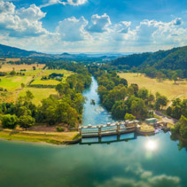 Aerial panorama of Goulburn River entering Lake Eildon in Melbourne, Australia