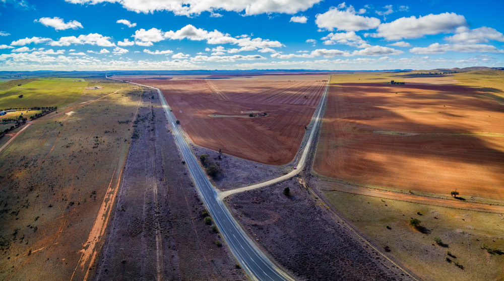 Aerial panorama of beautiful countryside in South Australia - plowed fields and pastures