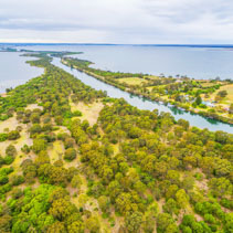 Aerial view of Mitchell River Silt Jetties at Gippsland Lakes Reserve, Victoria, Australia