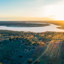 Sunrise over salt lake Kenyon in Australia - aerial panoramic landscape