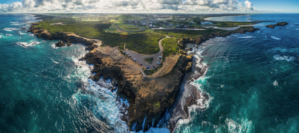 Aerial panorama of Thunder Point lookout and Warrnambool, Victoria, Australia