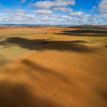 Clouds casting beautiful shadows on agricultural land in South Australia