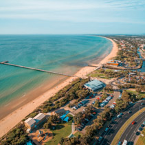 Aerial view of Frankston pier and coastline. Melbourne, Australia