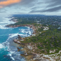 Aerial view of Mornington Peninsula in the morning near Blairgowrie Back Beach. Melbourne, Victoria, Australia