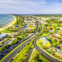 Aerial panorama of Frankston, Victoria, Australia