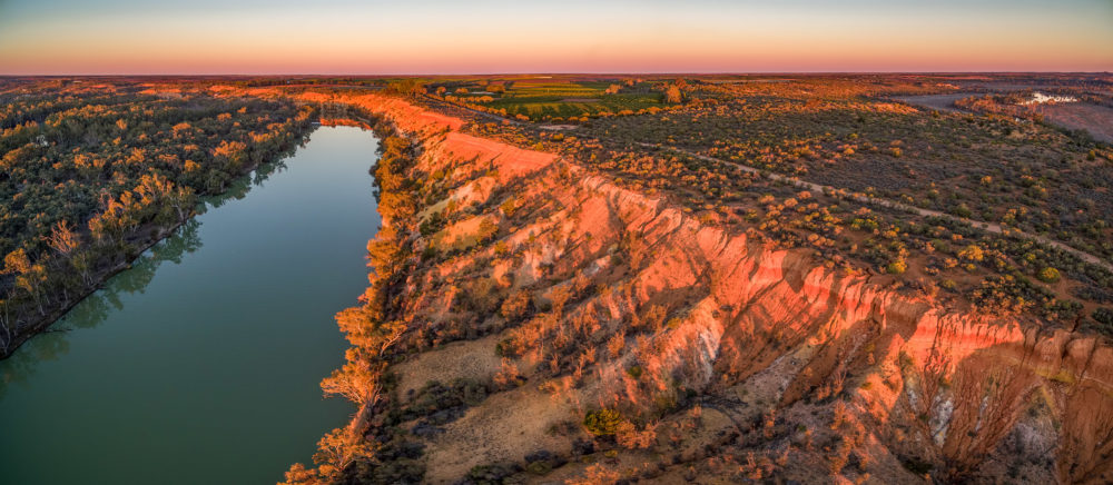 Aerial panorama of Murray River in Riverland region of South Australia at sunset